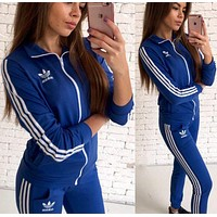 Adidas Fashion Women Casual Print Long Sleeve Sweater Top Pants Sweatpants Set Two-Piece Sportswear