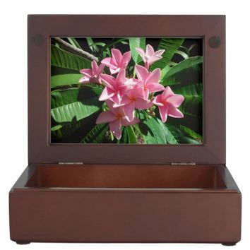 Pink Plumeria Flowers Keepsake Box