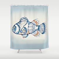 BLUE FISH Digital Painting Shower Curtain by digitaleffects