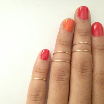 set of 5: Gold Knuckle Ring, Silver Knuckle Ring, Mid Rings, stacking rings, dainty ring