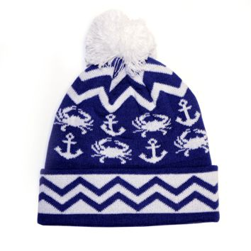 Chevron Crab and Anchor Design (Blue w/ White Pom) / Knit Beanie Cap