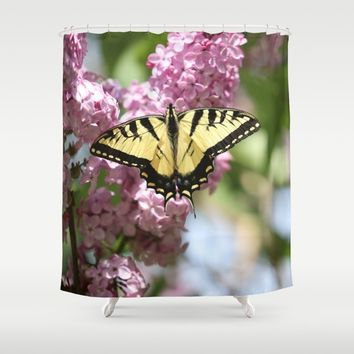 Swallowtail butterfly On Lilacs Shower Curtain by Theresa Campbell D'August Art