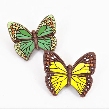 Hallmark Butterfly Brooch, 1978, Spring Green, Yellow, Pair of Butterflies, Vintage Brooches