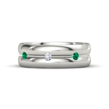 Platinum Ring with Emerald and Diamond | Yesterday Today Tomorrow Band | Gemvara