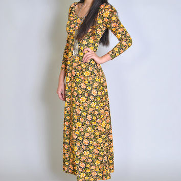 Vintage Floral Maxi 70s Yellow Floral Long Hippie Empire Waist Dress XS S