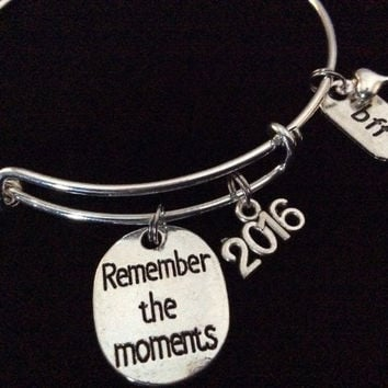 Remember The Moments 2016 Best Friends BFF on a Silver Expandable Charm Bangle Bracelet Meaningful Graduation Gift