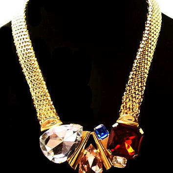 "Gold Mesh Statement Bib Necklace Art Glass Pink Blue Red Ice Rhinestones 20"" L Vintage Modern"