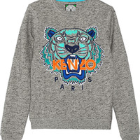 KENZO - Tiger embroidered cotton-jersey sweatshirt