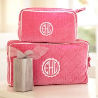 Quilted Velvet Beauty Cases