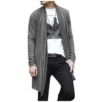 ADW 2017 NEW Men Shawl Collar High-Low Hem Long Cardigan Gray