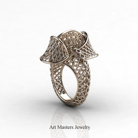 Yerevan - Cathartic Beauty 14K Rose Gold Modern Rococo Lace Ring R530-14KRG