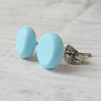 Light Blue Stud Earrings, Tiny Stud Earrings, Cute Earrings, Dainty Jewelry - BLW-1423
