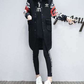 """Adidas"" Women Sport Casual Fashion Print Buttons Cardigan Middle Long Section Long Sleeve Baseball Clothes Woolen Coat"