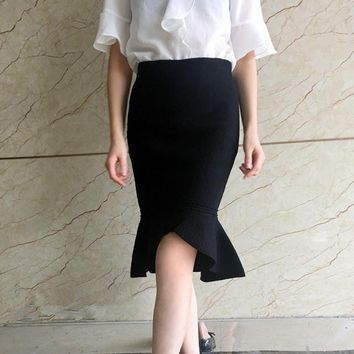 Slim high waist knit elastic irregular lotus leaf fishtail skirt Black