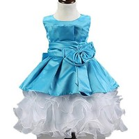 Baby Girls Wedding Pageant Flower Petals Lace Sleeveless Party Dress