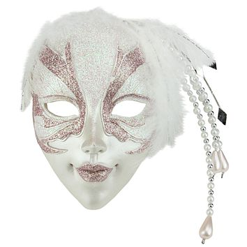 "9"" Pink and White Glittered Ornate Masquerade Mask Christmas Ornament"