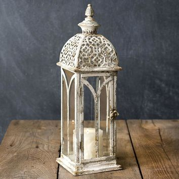 Farmhouse Country Distressed Lace Top Lantern Candle Holder Rustic Primitive