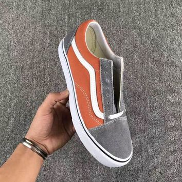 Vans Fashion Casual Trending Classic Canvas Old Skool Flats Sneakers Sport Shoes Grey +Orange G