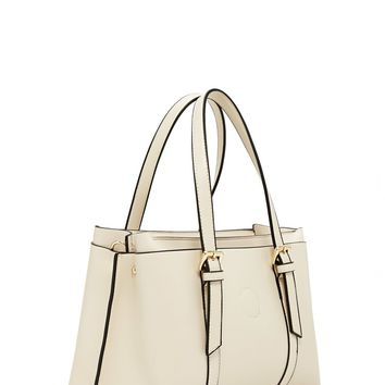 Buckled Faux Leather Satchel