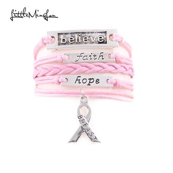 Infinity Love BREAST CANCER Hope Charm Bracelet Faux Leather Wrap Gift