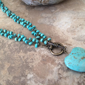 Turquoise Beaded Necklace, Front Toggle Necklace, Turquoise Heart Necklace, Copper Necklace