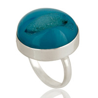 Round Blue Agate Druzy Cocktail Ring In Solid Sterling Silver