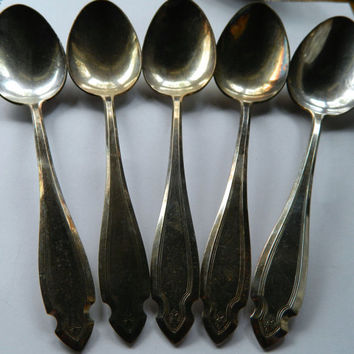 Set of 5 Vintage Heirloom Silver Plate Serving Spoons - Pattern Cardinal