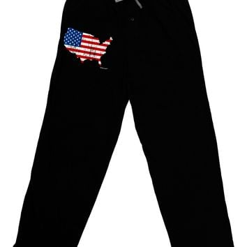 United States Cutout - American Flag Distressed Adult Lounge Pants by TooLoud