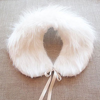 White faux fur Collar, Polyester faux fur, Women Accessories, Winter