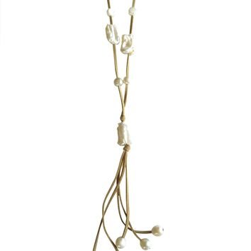 Lita Pearl Light Suede Long Leather Necklace