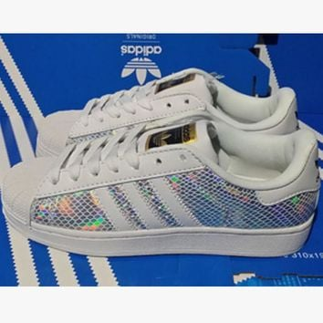 """""""Adidas"""" Fashion Shell-toe Flats Sneakers Sport Shoes Scale white laser"""