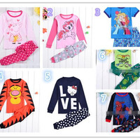 Children Clothes Hot Girls Summer Ice and Snow Character Printing and Flora Print Shorts Fashion Kids Short Sleeve and Breathable Suits