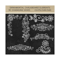 Digital Graphics, Ornamental Chalkboard Flourishes, White Chalk Clipart, Clip Art, Digital Scrapbook Kit Embellishments Commercial Use