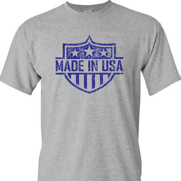 Made in the USA on a Sports Grey T Shirt