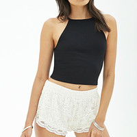 FOREVER 21 Scalloped Lace Shorts