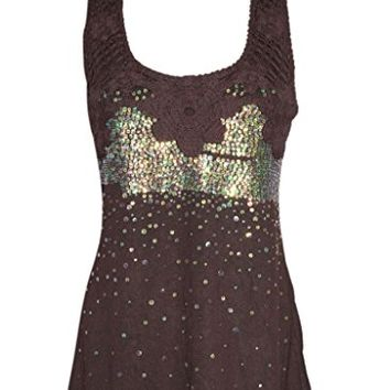 Women's Brown Sexy Tank Top Bohemian Sequin Boho Peasant Girl's Top Blouse S: Amazon.ca: Clothing & Accessories