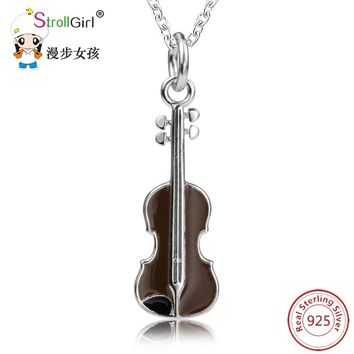 SG Lovely Violin Shape Pendant Chain Necklaces For Women 925 Sterling Silver Necklaces Pendants Fashion Jewelry 2018 Gift