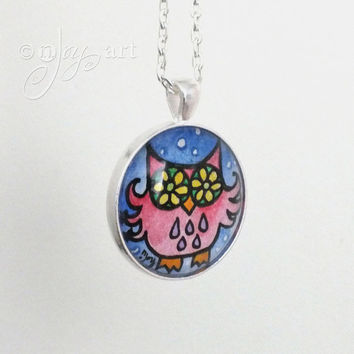 Wearable Art, Flower Eyed Owl Pendant with necklace, original watercolor painting under glass, mini art, NOT A PRINT