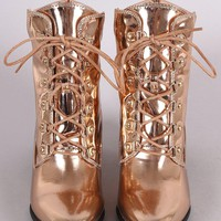 Patent Chunky Heeled Combat Lace-Up Ankle Boots