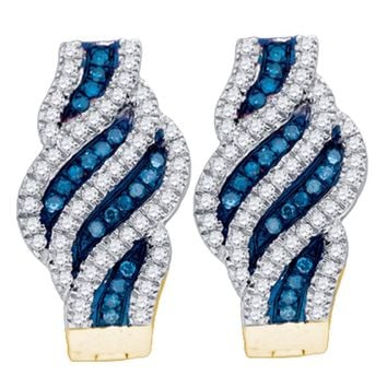 10kt Yellow Gold Womens Round Blue Color Enhanced Diamond Spiral Stripe Hoop Earrings 1/3 Cttw