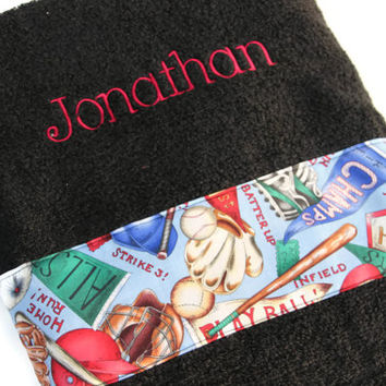 Baseball Bath Towel, Custom Personalized Embroidered Boys Beach Terry Cloth Bath Accessory