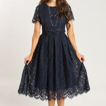 Eleanor Navy Lace Midi Dress