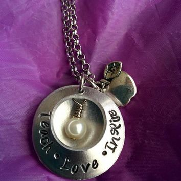 Personalized Teacher Necklace - Teacher Gift - Teacher Appreciation - Teacher Jewelry - Hand Stamped Locket - Gift for Teacher