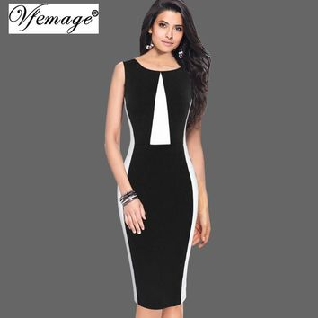 Vfemage Womens Elegant Optical Illusion Patchwork Contrast 2017 Slim Casual Work Office Business Party Bodycon Pencil Dress 6892