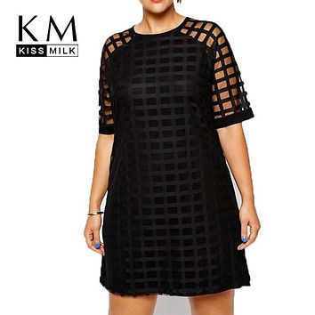 Kissmilk Women Plus Size Checkered Pattern O Neck Sheer Mesh Shirt Dress Shift Dress OL Vintage Party Big Size Dress 5XL 6XL