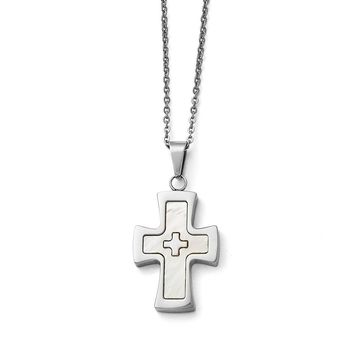 Stainless Steel Polished Mother Of Pearl Cross Necklace