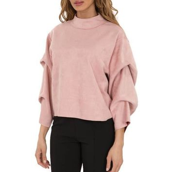 Suede Top W/ Tacked Sleeves