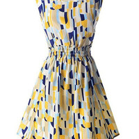 Square Print Sleeveless Elastic Waist Dress