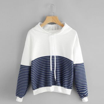 Sudaderas Mujer 2017 Sweatshirts Woman Casual Long Sleeve Drop Shoulder Striped Drawstring Hoodies Women Sweatshirts Hooded #920