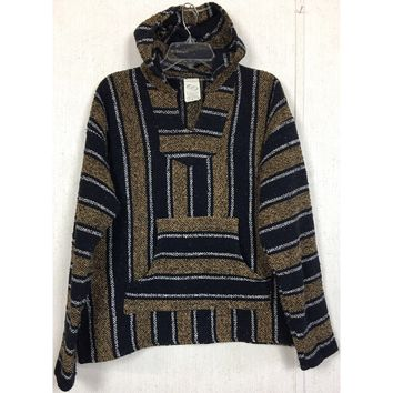 Baja Mexico Hoodie Blanket Sweater Striped Woven Rug Blue Tan Gold Serape Jerga L